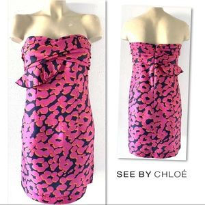 See By Chloe Dresses - SEE BY CHLOE SILK NAVY PINK STRAPLESS DRESS 8